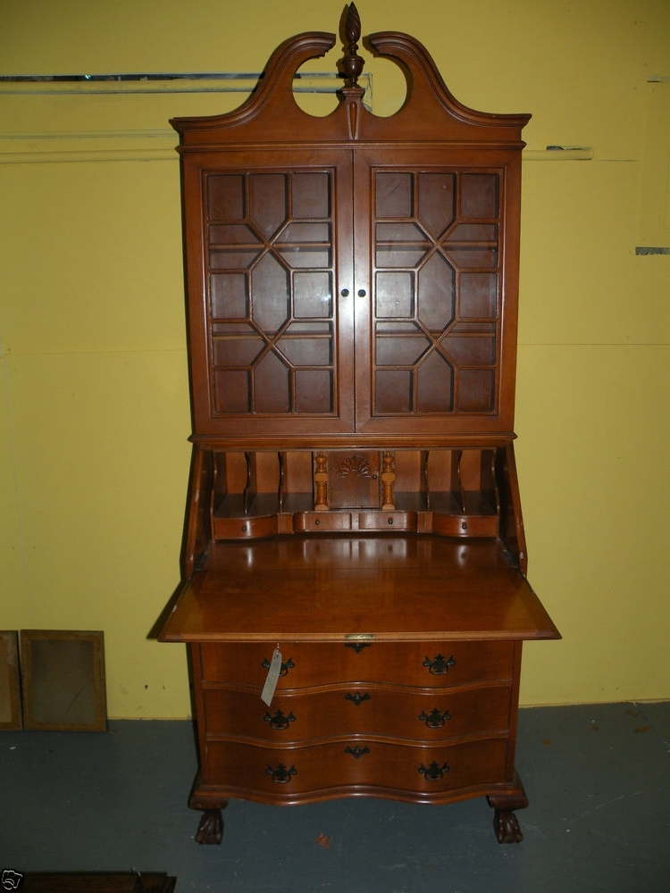Featured Photo of Antique Drop Front Secretary Desk With Bookcases
