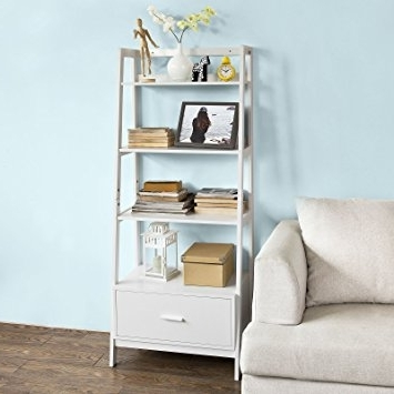 Ladder Bookcases With Drawers Throughout Popular Amazon: Haotian Frg116 W, White, Storage Display Shelving (View 7 of 15)