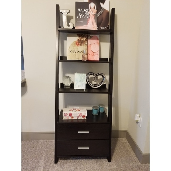 Ladder Bookcases With Drawers Within Well Liked Cappuccino 69 Inch Ladder Bookcase With Storage Drawers – Free (View 11 of 15)