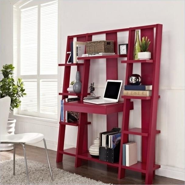 Ladder Shelf Desk Wide Bookshelf Set (View 10 of 15)