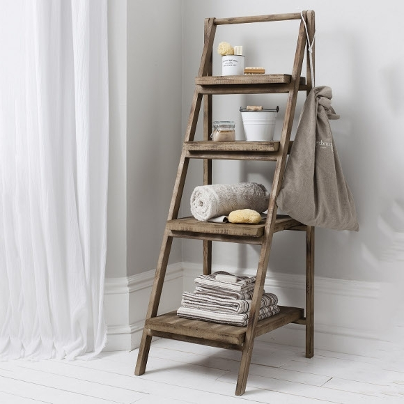 Ladder Shelves Regarding Most Popular Canvas Of Cottage Bathroom Look? Add This Bathroom Ladder Shelf (View 8 of 15)