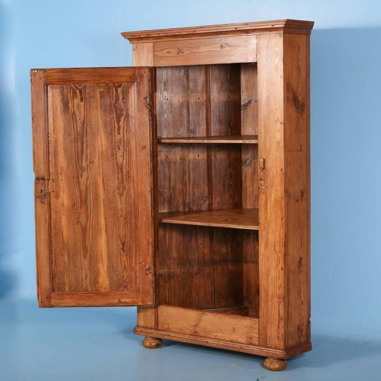 Large Antique Pine Single Door Swedish Corner Cupboard Dated 1853 In Newest Large Cupboard With Shelves (View 7 of 15)