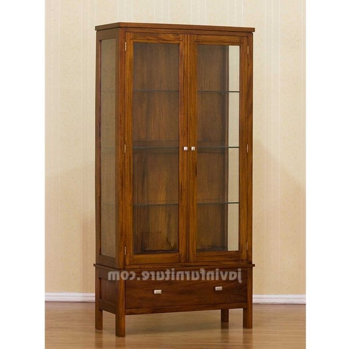 Large Cupboard With Shelves Within Preferred Wooden Slim Storage Cabinet With Glass Doors Wood Homesfeed Tall (View 10 of 15)