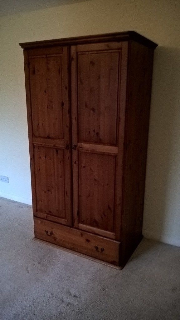 Large Double Rail Wardrobes With Well Known Large Double Wardrobe, Antique Pine, Hanging Rail And Drawer (View 4 of 15)
