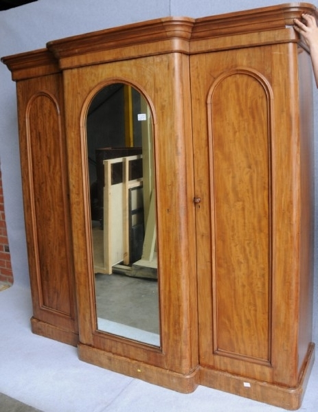 Latest A Victorian Flame Mahogany Breakfront Wardrobe (View 7 of 15)