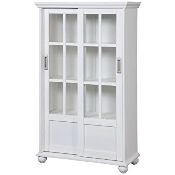 Latest Amazon: Ameriwood Home Aaron Lane Bookcase With Sliding Glass Within White Bookcases With Cupboard (View 7 of 15)