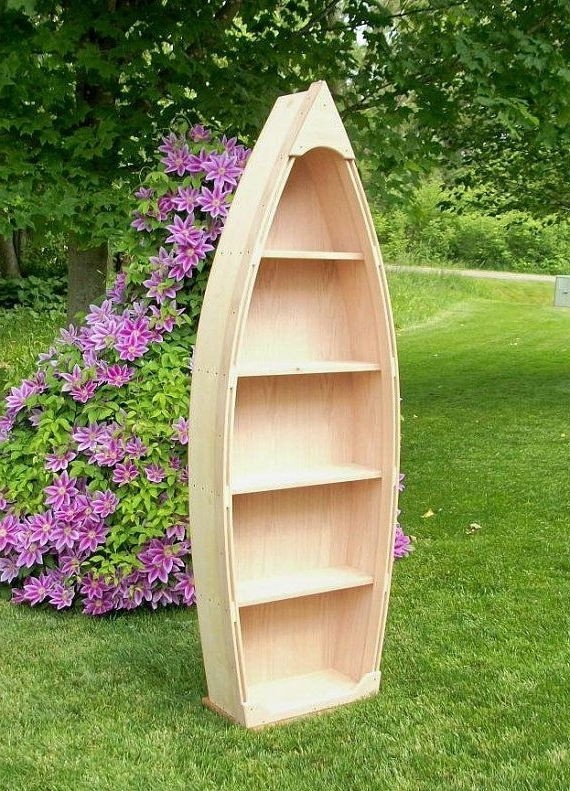 Latest Boat Bookcases With 6 Ft Unfinished Row Boat Shelf Bookshelf Bookcase Hand Crafted (View 10 of 15)