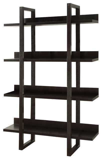 "Latest Contemporary Bookcases Pertaining To Monarch Specialties Cappuccino 71"" Open Concept Display Etagere (View 8 of 15)"