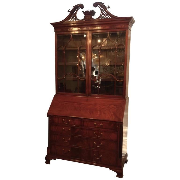 Latest English Drop Front Secretary Bookcase Mahogany, Mid 19Th Century With Regard To Antique Secretary Desk With Bookcases (View 12 of 15)