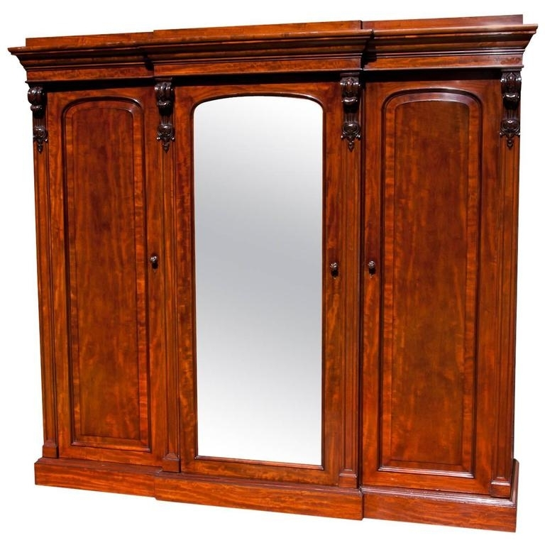 Latest Fine Quality Victorian Mahogany Breakfront Wardrobe At 1Stdibs With Regard To Victorian Mahogany Breakfront Wardrobes (View 4 of 15)