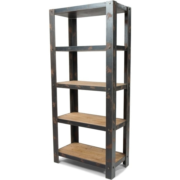 Latest Metal And Wood Bookcases Inside Aurelle Home Century Natural Wood And Sheet Metal Industrial (View 8 of 15)