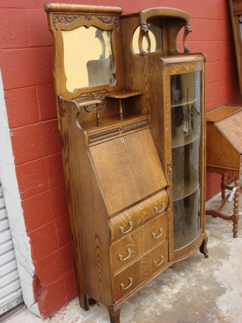 Latest Secretary Bookcases Intended For American Antique Victorian Break Front Secretary Bookcase Desk (View 9 of 15)
