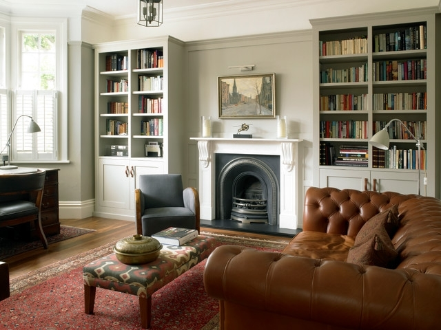 Latest Study Bookcases With Study With Bookcases And Wall Paneling – Traditional – Home Office (View 4 of 15)