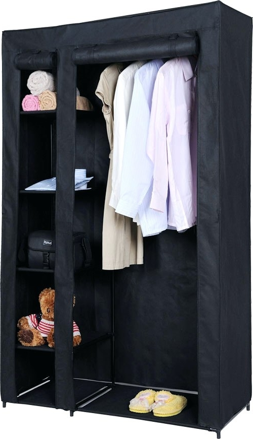 Latest Tall Double Rail Wardrobes Inside Wardrobes ~ Double Canvas Wardrobe With Clothes Rail Shelves New (View 4 of 15)