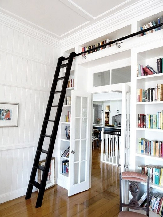 Latest White Built In Bookcases With Black Library Ladder / Sfgirlbybay Pertaining To Bookcases With Ladder (View 13 of 15)