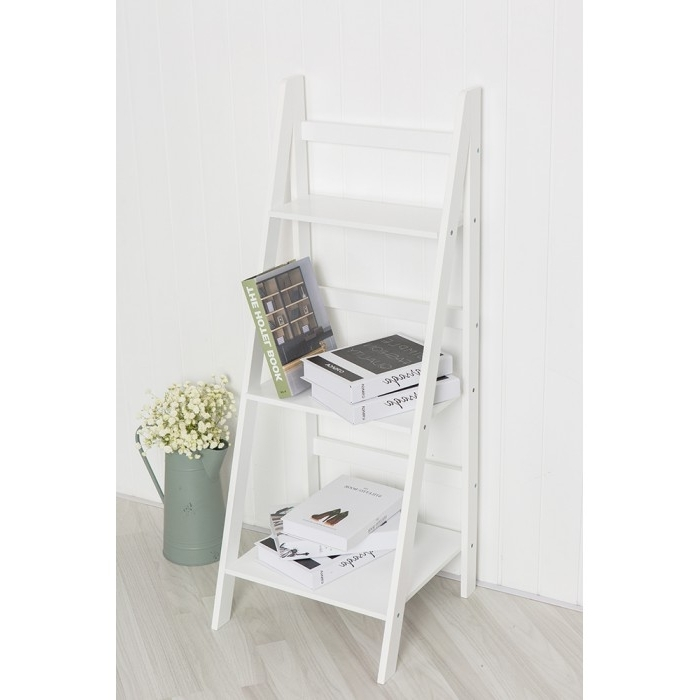 Latest White Ladder Shelf With Regard To Ladder Shelf With Three Tiers (View 11 of 15)