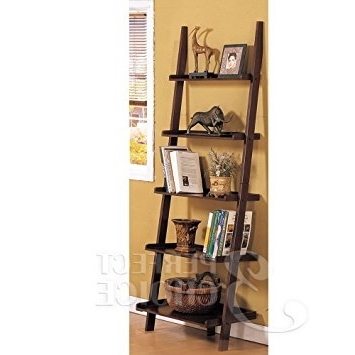 Leaning Bookcases In Widely Used Amazon: Poundex Leaning Bookcase Bookshelf, Dark Espresso (View 7 of 15)