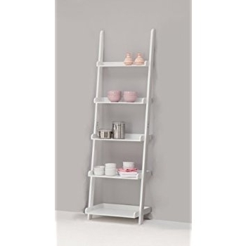Leitern White 5 Tiered Ladder Shelf Bookcase Display Unit: Amazon Intended For Most Recently Released White Ladder Shelf (View 9 of 15)