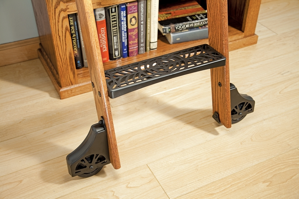 Library Ladder Kit Within Most Recent Rockler Adds New Cast Steps To Deluxe Rolling Library Ladder Kits (View 7 of 15)