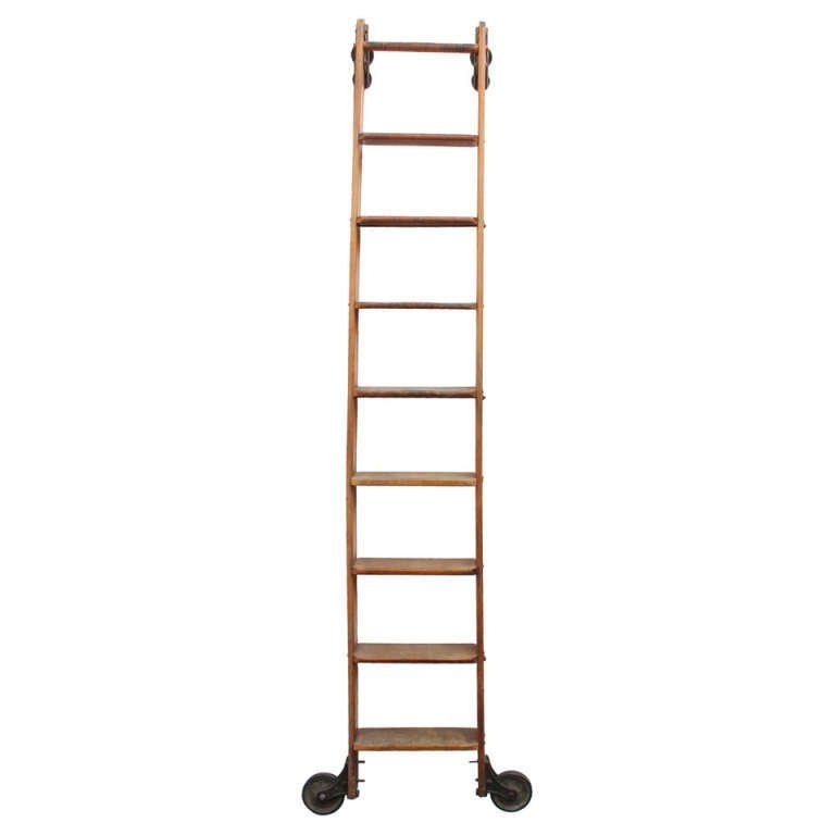 Library Ladder Within 2018 Antique Original American Library Ladder At 1Stdibs (View 5 of 15)