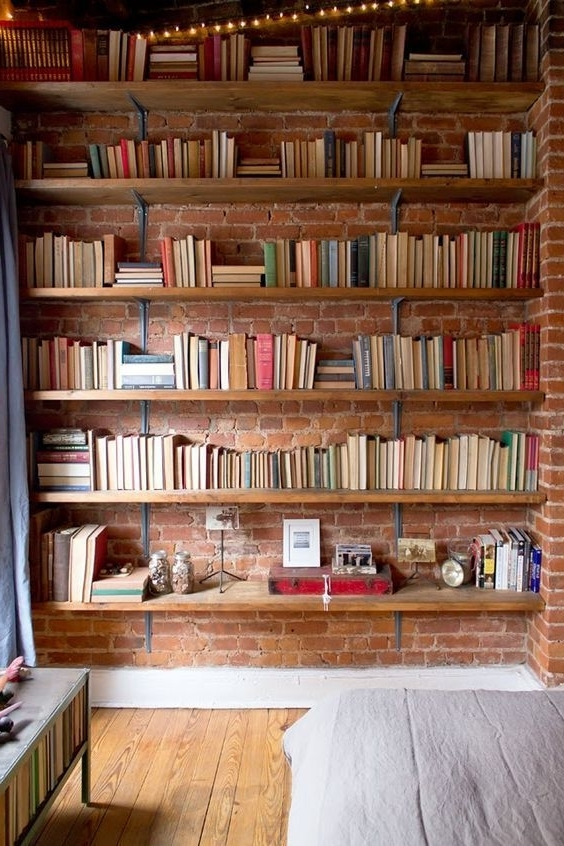 Library Shelfs Pertaining To 2018 54 Eye Catching Rooms With Exposed Brick Walls (View 12 of 15)
