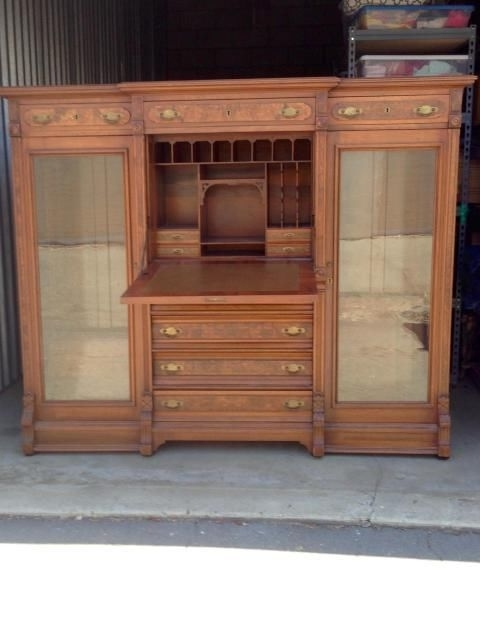 Likenew Antique Secretary Desk Bookcase Sideside Oak Leather Regarding Most Recently Released Secretary Bookcases (View 9 of 15)