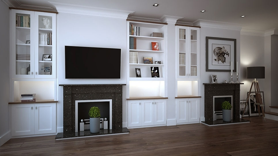 Living Room Fitted Cabinets Intended For Popular Bespoke Living Room Storage Solutions On Modern Dark Wood Built In (View 2 of 15)