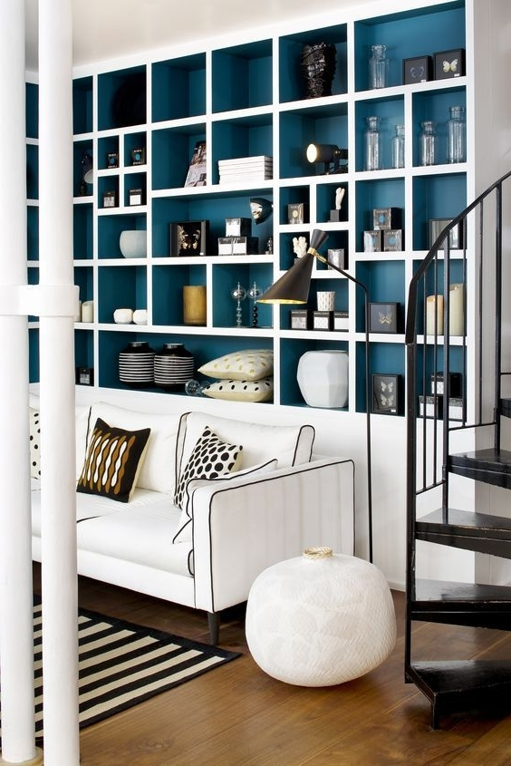 Living Room With Current Painted Shelving Units (View 3 of 15)