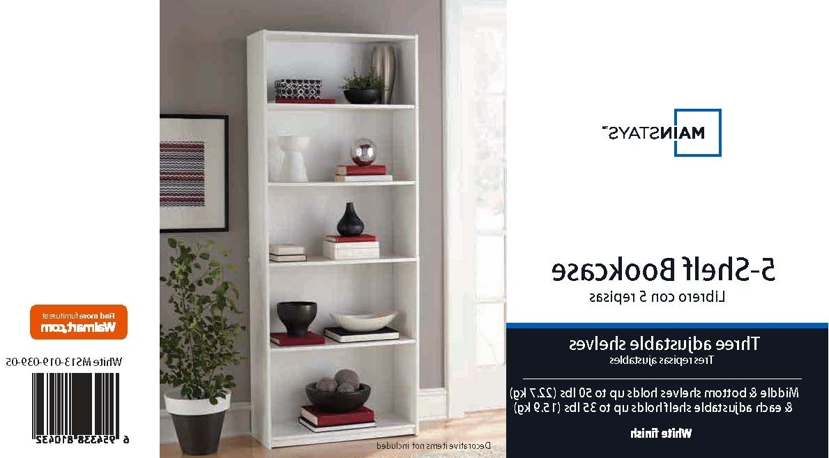 Mainstays 5 Shelf Standard Wood Bookcase – Walmart Regarding Most Up To Date White Walmart Bookcases (View 8 of 15)