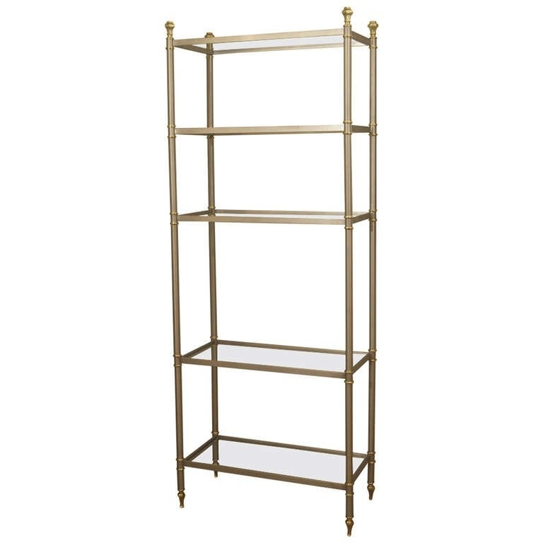 Maison Jansen Style Etagere Or Bookshelf In Steel And Brass At 1Stdibs Pertaining To Fashionable Brass Bookcases (View 9 of 15)