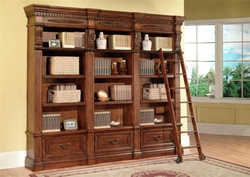 Manor Granada 3 Piece Museum Bookcase In Antique Vintage Walnut For Most Current Library Bookcases Wall Unit (View 7 of 15)