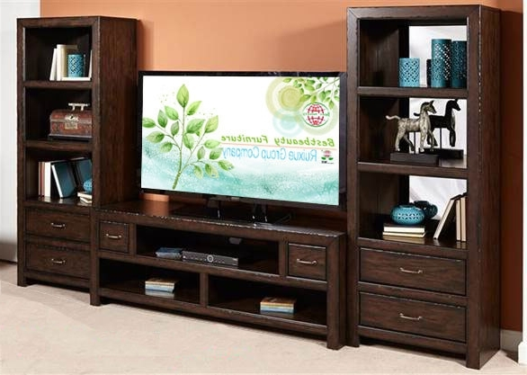 Md011 Solidwood Bookcase Function Tv Stand Media Entertainment Regarding Newest Bookcases With Tv Stand (View 14 of 15)