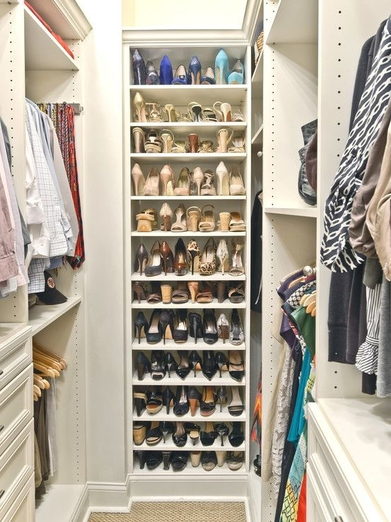 Mesmerizing Wall Mount Shoe Storage In The Closet: Admirable White Intended For Well Known Wardrobes Shoe Storages (View 13 of 15)