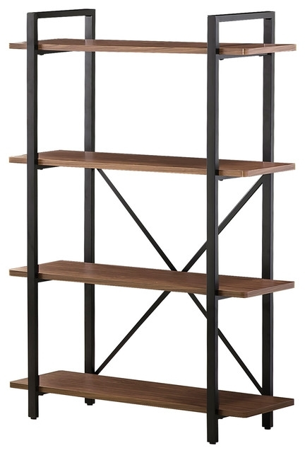 Metal And Wood Bookcases Within Widely Used X Back Bookcase With 4 Wood Shelves Industrial Bookcasesin (View 12 of 15)