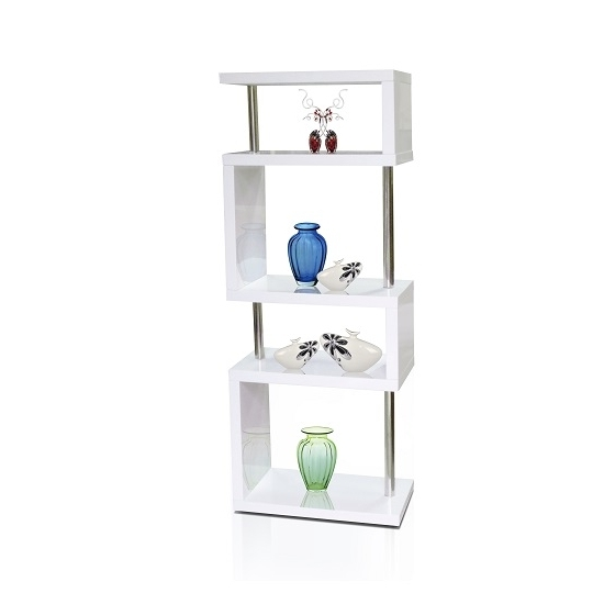 Miami Slim High Gloss Shelving Unit White 16403 Furniture With Popular White Shelving Units (View 6 of 15)