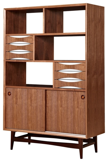 Mid Century Bookcases Within Well Liked Duo Co – Walnut Midcentury Modern Bookcase, Hoisin Storage Cabinet (View 8 of 15)