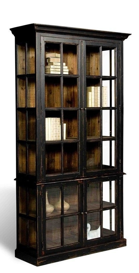 Modern Black Bookcase Distressed Finish Rustic Solid Wood Free With Latest Black Bookcases With Glass Doors (View 11 of 15)