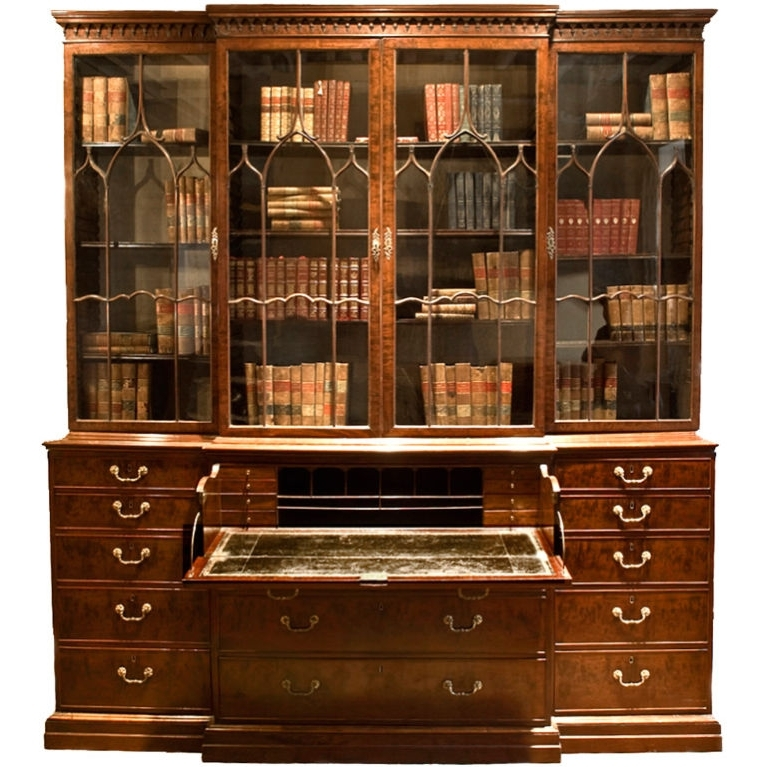 Modern Breakfront Throughout Newest Chippendale Breakfront Bookcase 18th Century English George Iii (View 2 of 15)