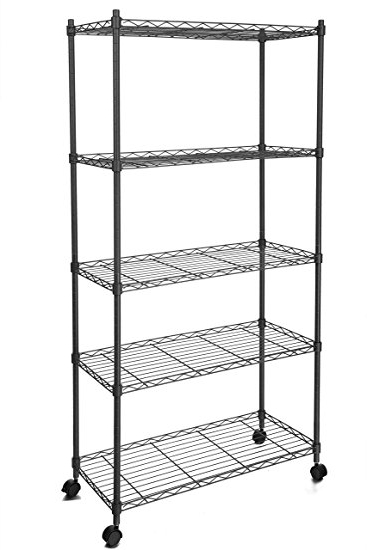 Most Current Amazon: Homdox 5 Shelf Shelving Unit On Wheels Wire Shelves Inside Storage Shelving Units (View 9 of 15)