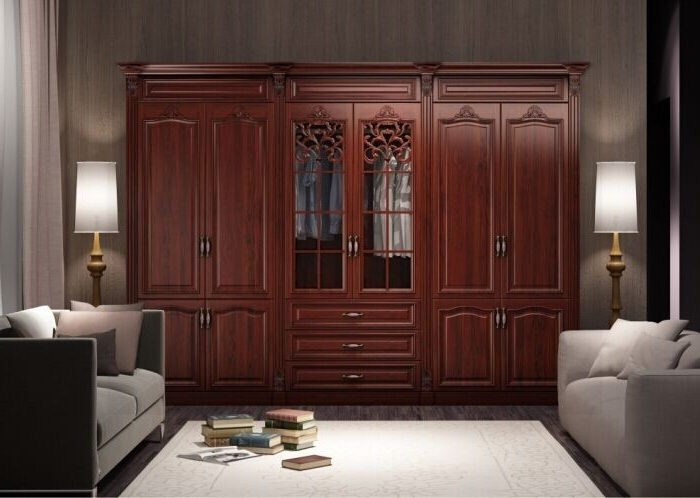 Most Current Armoire: Custom Cherry Solid Wood Wardrobe Closet Design And Ideas Inside Solid Wood Wardrobes Closets (View 7 of 15)