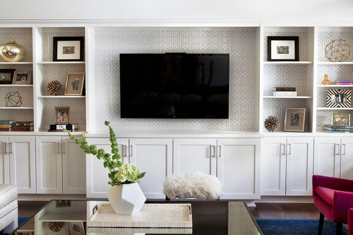 Most Current Built In Bookcases With Tv Throughout Gray Trellis Wallpaper On Back Of Built Ins – Transitional (View 5 of 15)