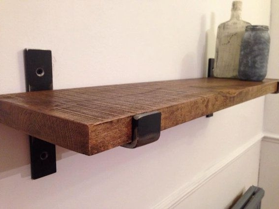Most Current Hand Crafted Solid Oak And Steel Industrial Urban Farmhouse Shelf Throughout Oak Shelves (View 7 of 15)
