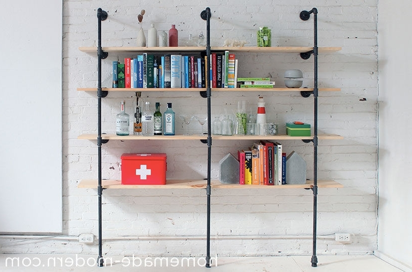 Most Current Homemade Bookcases Throughout Homemade Modern Diy Pipe Shelves: 9 Steps (With Pictures) (View 11 of 15)