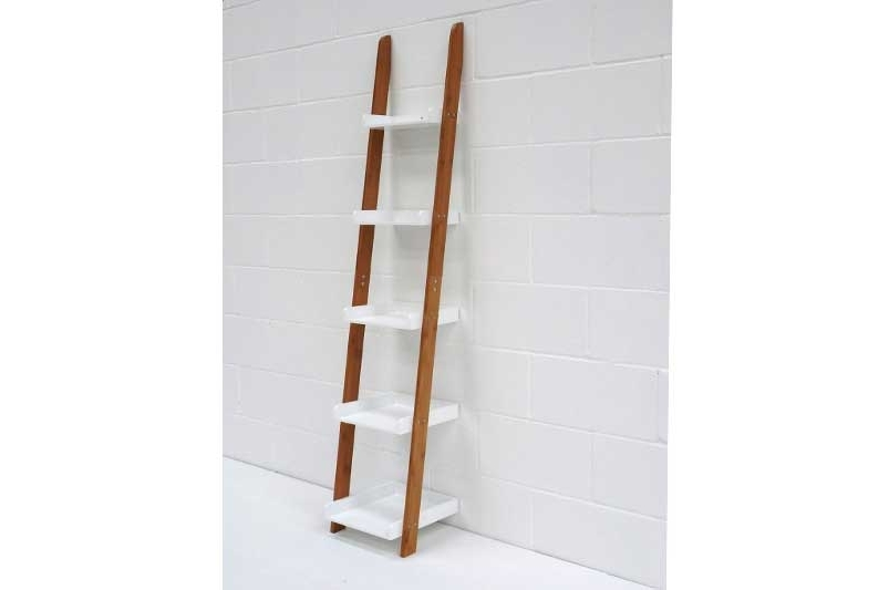 Most Current Leaning Ladder Shelves In Bamboo And White (View 12 of 15)