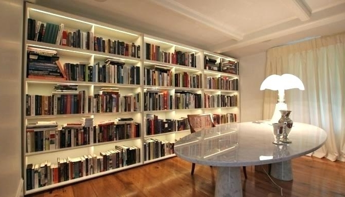 Most Cur Library Bookcases Lighting Inside Led Bookcase For Custom