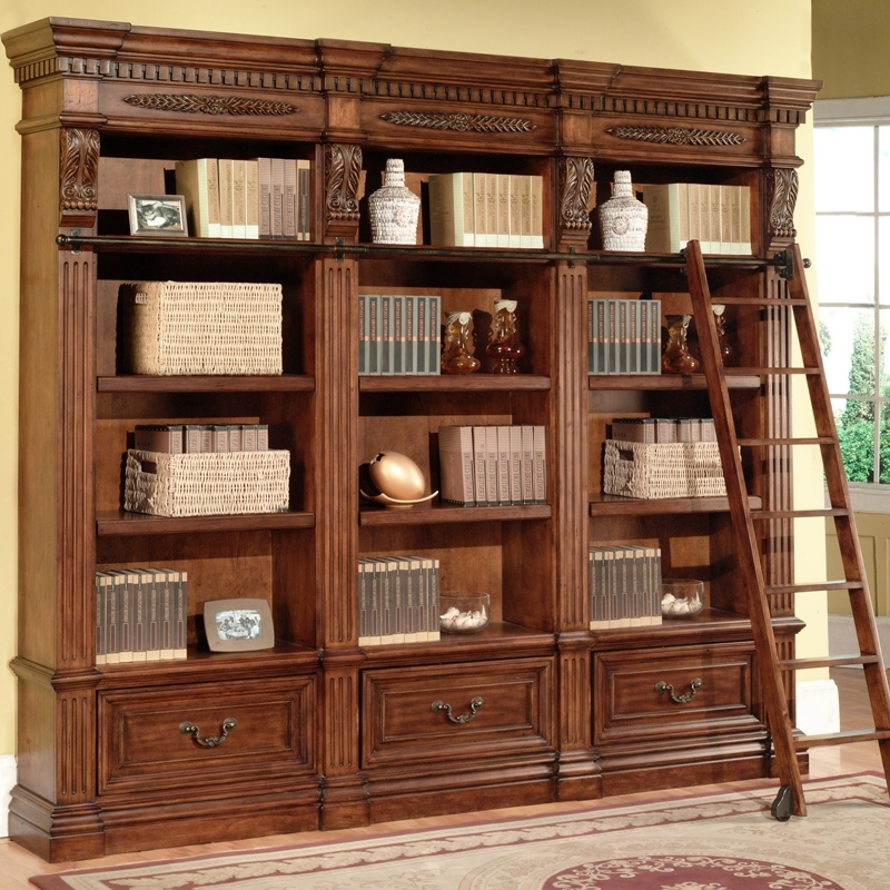 Most Current Parker House Grand Manor Granada Museum Library Bookcase 3 Piece With Vintage Bookcases (View 2 of 15)