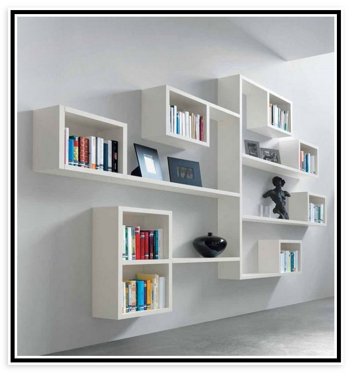 Most Current White Wall Bookcase White Wall Mounted Bookcase Themideastupdate Intended For Wall Mounted Bookcases (View 9 of 15)
