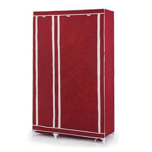 Most Popular Double Rail Wardrobe Regarding Foldable Double Canvas Wardrobe Clothes Rail Hanging Storage (View 8 of 15)