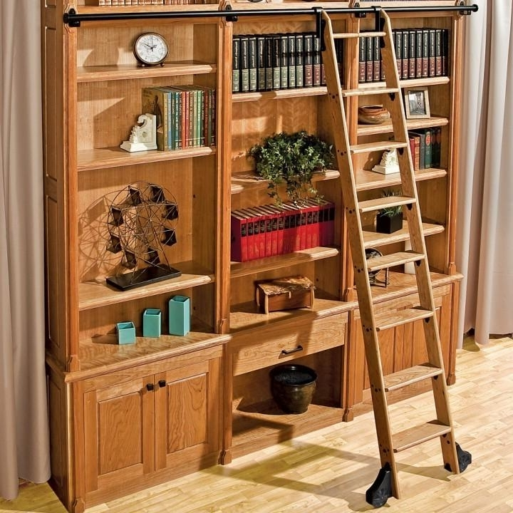 Most Popular Library Ladder Regarding 10' Rockler Exclusive Classic Wood Kits For Rolling Library (Gallery 1 of 15)