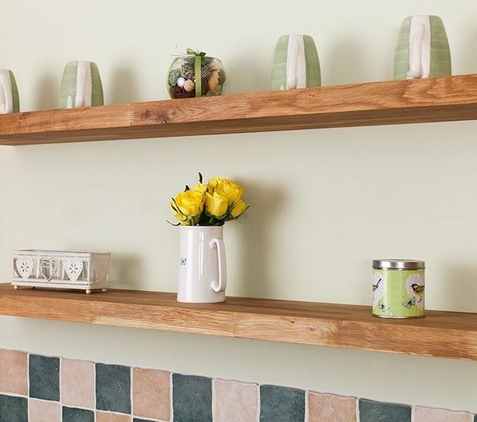 Most Popular Real Wood Floating Shelves Unique Design Solid Wood Floating Intended For Solid Oak Shelves (View 2 of 15)